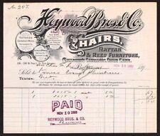 Chairs Rattan & Reed Furniture Heywood Bros Co Baltimore MD 1896 Billhead