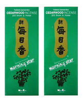 Japanese Nippon Kodo Morning Star Cedarwood Incense & Holder 400 Stick (2 BOXES)