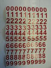"RED STICKY VINYL NUMBERS 25mm (1"") HIGH x 100 waterproof"