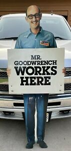 """Mr. Goodwrench Works Here Sign… Old & Original…70.5"""" tall—Chevy, Chevrolet, GM"""