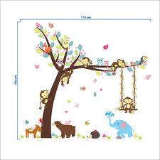 Monkey Tree wall stickers Children Wall Decal Nursery Bedroom Decor Poster Mural