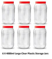 6 X 4000 ml Plastic Storage Jars Containers Canisters Pots Screw Top Spice Jar