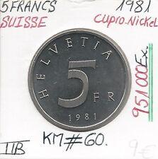 SUISSE - 5 FRANCS - 1981 (951 000 Ex) Pièce de Monnaie // Qualité: TTB