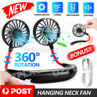 Portable Neck Fan Air Cooler Fan Hanging LED Travel Sports Creative Hand Held