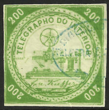 Brazil Telegraph stamp RH2b, used, blue oval cancel, 1873