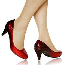 Women Ladies Party Evening Two Tone Patent Low Kitten Heel Court Shoes Size 6672
