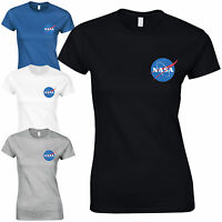 NASA Space Astronaut Ladies Fitted T-Shirt - Cool Geek Nerd Star Logo Gift Top