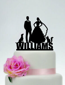 Personalized Acrylic Bride And Groom Family Wedding Cake Topper With Cat And Dog