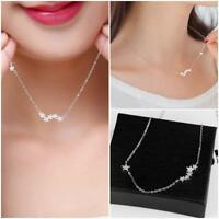 Quality Women Jewelry 925 Silver Plated Crystal Pendants Star Necklace Chain