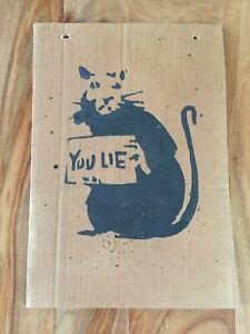 Banksy Street art Pochoir dismaland - You Lie Rat - Format: 36x25cm, RARE