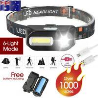 Waterproof Head Torch Headlight LED USB Rechargeable Headlamp FREE BATTERY AU