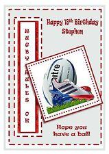 Personalizado Cumpleaños Tarjeta balón de rugby de gran formato A5 hijo papá Nieto Marido