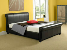 Monza 4ft6 Double Brown Modern Faux Leather Sleigh Bed Frame