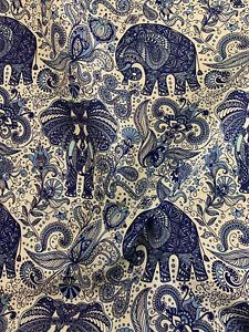 White & Blue Elephant Batik Printed 100% Cotton Poplin Fabric.