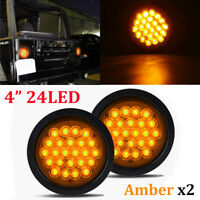 "2X 24-LED Amber 4"" Round Stop Tail Turn Signal Light Truck Tractor Trailer Bus"