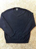 JoS. A. Bank Cashmere V-Neck Sweater Men's L Traveler's Collection Blue