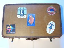 Original Vintage Oshkosh Leather Suitcase 1930s With Travel Stickers/Decals