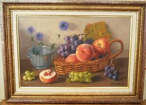 """Late 20th/C Still Life """"Mixed Fruit""""  by Florent Sichet (1918-2014)"""