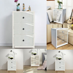 White Wooden Frame Storage Beside Table Cabinet Table 2,3 Glass Drawers  Bedroom