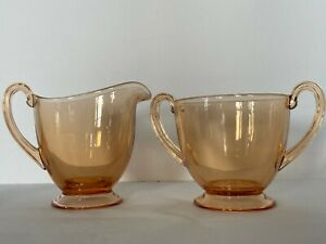 Vintage Footed Smooth Clear Amber Glass Handled Sugar Bowl & Creamer Set