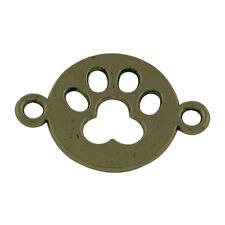 2 Paw Print Charms Connectors Antique Bronze Tone Dog Pendants Links