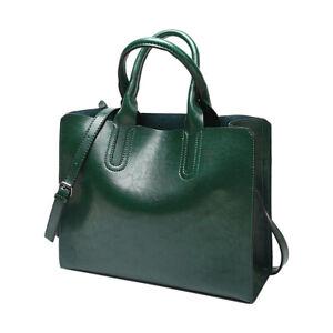 Vintage Luxury Oil Wax Leather Handbag Designer Ladies Green Shoulder Bag M