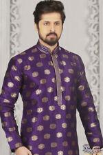 Atasi Desgaste de La Camisa de disenador de Bollywood Roja Kurta Larga de Los Hombres etnicos de