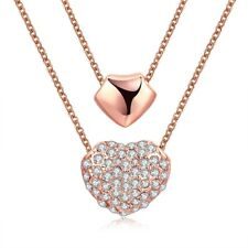 18k 18CT Rose Gold Filled GF Two Layer Hearts Crystals Pendant Necklace N701
