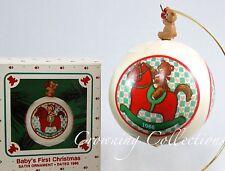 1986 Hallmark Baby's First Christmas Ornament Unbreakable Satin Ball 1st Vintage