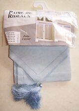 Paire de rideaux bleu brodés neuf 60x90 cm