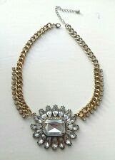 Vintage Choker Rhinestone Necklace Gold Diamente Sparkly Wedding Power Festival