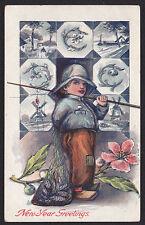New Year-Dutch Boy-Fishing-Fisherman-Fish-Antique Postcard