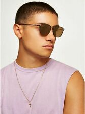 Bnwt New Topman Gold Sunglasses & Leather Look Case Top Sale rrp £16