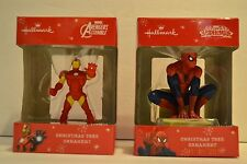 Hallmark Chirstmas Ornaments Marvel  Iron Man & Spiderman Avengers Assemble  NIB