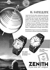 PUBBLICITA' 1956 ZENITH OROLOGIO POLSO SATELLITE CARATTERISTICHE MOD.12003-12081