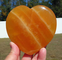 Super ORANGE Heart of CALCITE Crystal Point Stone Paper Weight or Desk Display