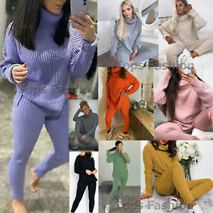 Womens Ladies Knitted Lounge Wear Suit 2 Pcs Set Joggers Tracksuits Top Trouser