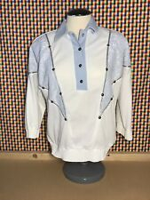 New listing 80s Vtg Womens Sz Medium Button Embellished Pullover Blouse Shirt Disco