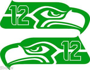 "Seattle Seahawks 12th MAN Decals L/R PAIR 6"" Bright Green"