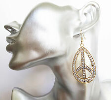 Sparkly Oval Gold Tone Crystal Dangle Drop Earrings with Peace Symbol