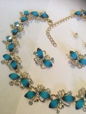 gold necklace and earrings with sea blue beads and cubic zirconia stunning 2016