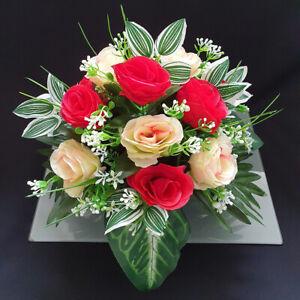 Grave Artificial/silk flower pot arrangement in memorial Crem Pot funeral Vase