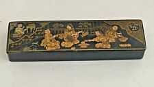 Vintage Japanese Lacquer Lacquerware Writing Pencil Pen Box