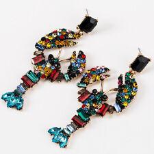 Colorful Lobster Crystal Earrings Statement Drop Women Earring Wedding Jewelry