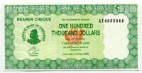 Zimbabwe Original 100 000 Dollars 2006 P32 Uncirculated Bearer Cheque