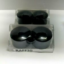 IKEA Raffig Finials Black 202.199.36 NEW 2 Sets of 2 End Caps for Curtain Rods