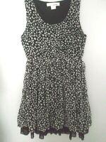 Sans Souci Women's Polka Dot Ruffle Top/Tunic/ Mini Dress Black/White Size S.