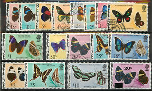Belize 1974 Butterflies set (no 35c) SG 380-395 used *COMBINED POSTAGE