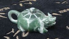 ANTIQUE CHINESE CARVED GREEN JADE TEA POT DRAGON SHAPE
