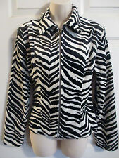 PANDORA CASUALS Zebra Print Velour Fitted Unlined Zip Up Jacket Juniors Medium
